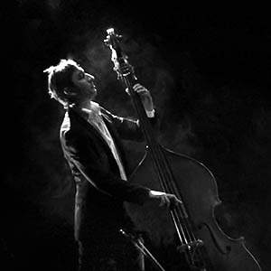Portrait of double bass player on stage